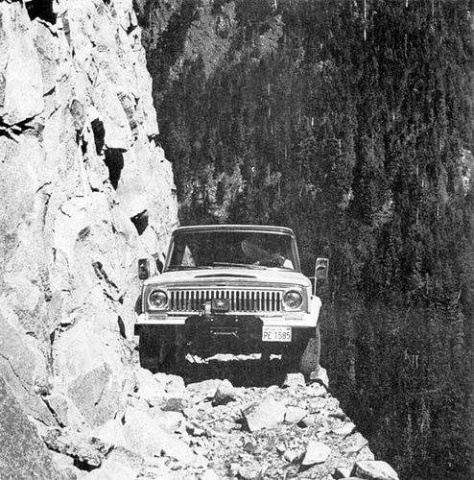A tourist tries to navigate a treacherous road in Dir, 1972, in the former NWFP (now Khyber Pakhtunkhwa).